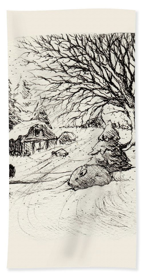 Snow Hand Towel featuring the drawing Snow Bunny by Rachel Christine Nowicki