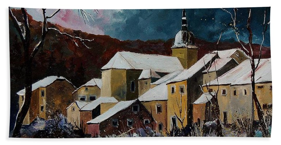 Winter Hand Towel featuring the painting Snow In Chassepierre by Pol Ledent