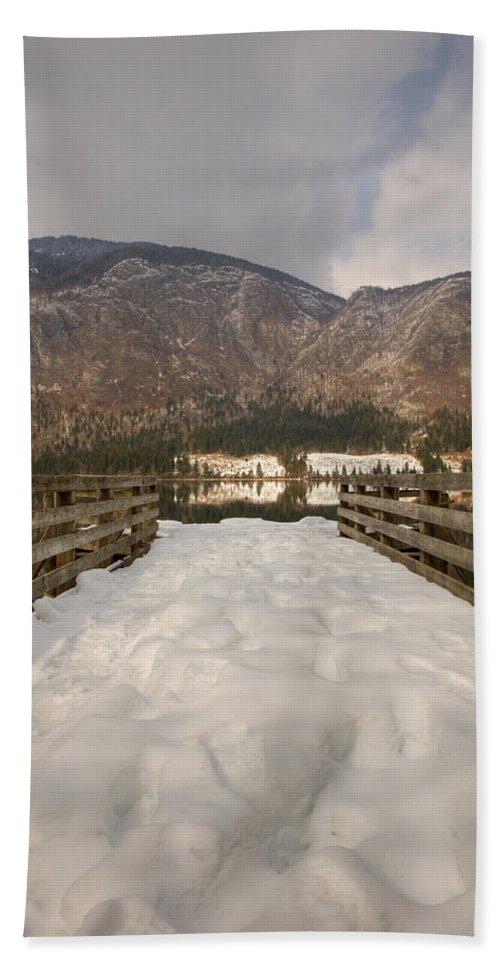 Lake Bath Sheet featuring the photograph Snowy Alpine Lake by Ian Middleton