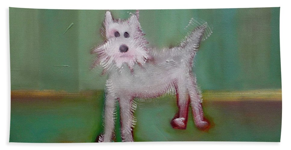 White Puppy Bath Sheet featuring the painting Snowy by Charles Stuart