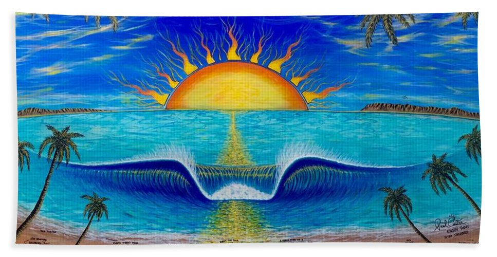 Socal Sunset Painting Bath Towel featuring the painting Socal Sunset by Paul Carter