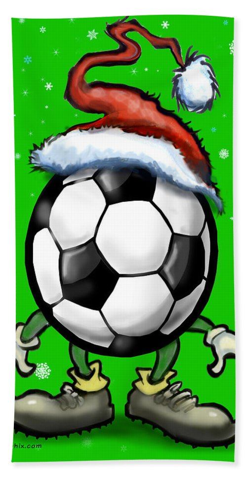 Soccer Bath Sheet featuring the greeting card Soccer Christmas by Kevin Middleton