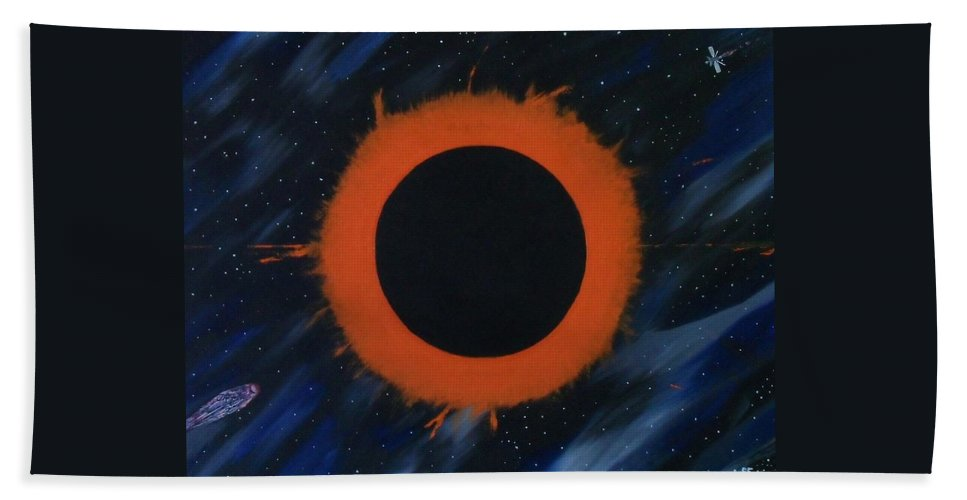 Astronomy Bath Sheet featuring the painting Solar Eclipse by Paul F Labarbera