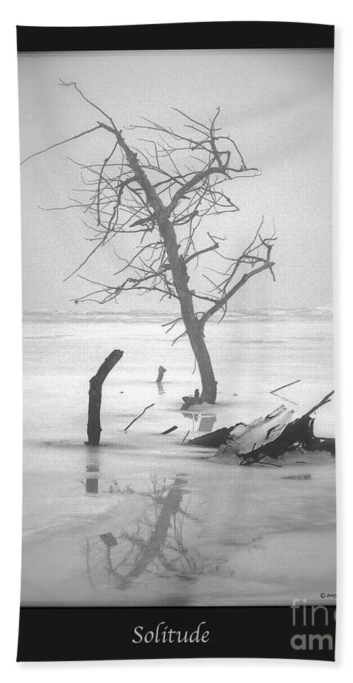 Black And White Photography Bath Sheet featuring the photograph Solitude by Sue Stefanowicz