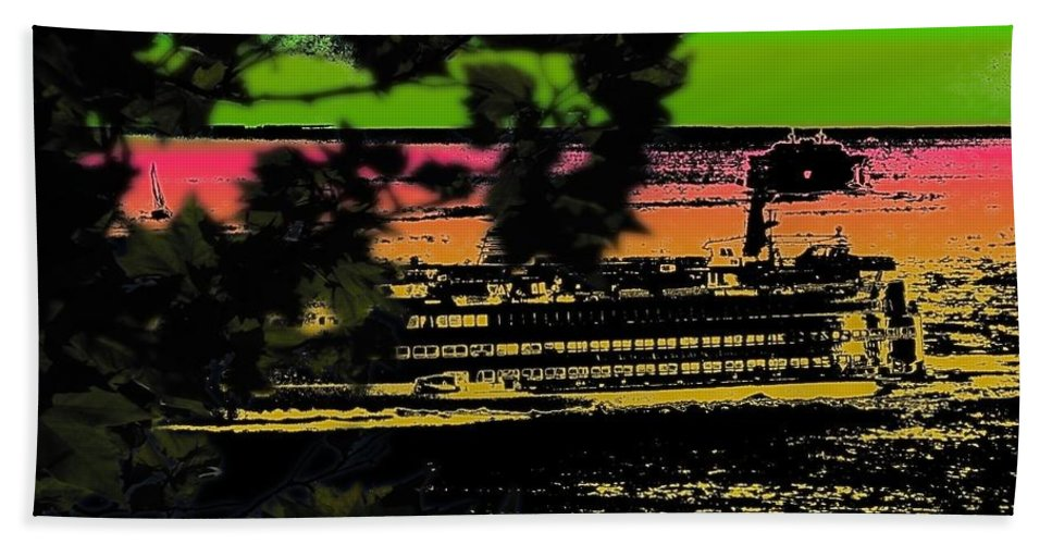 Ferry Hand Towel featuring the digital art Soundside Treehouse View by Tim Allen