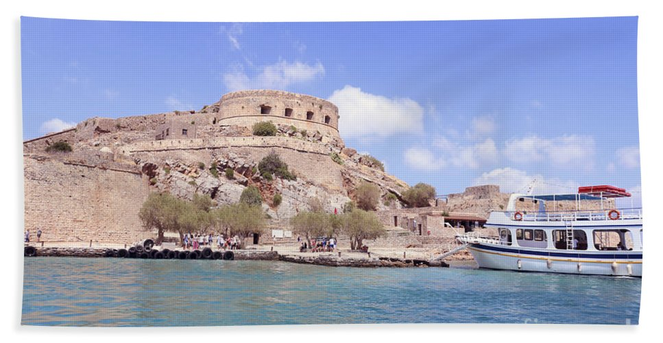 Spinalonga Bath Sheet featuring the photograph Spinalonga Greece by Lilach Weiss
