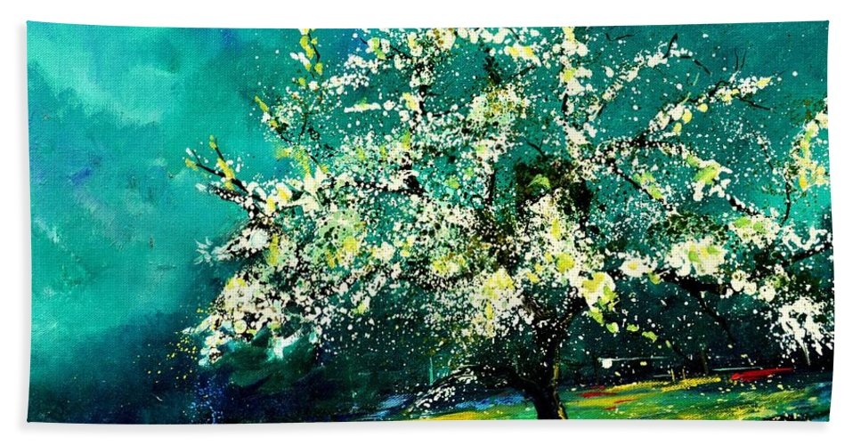 Landscape Hand Towel featuring the painting Spring 67 by Pol Ledent