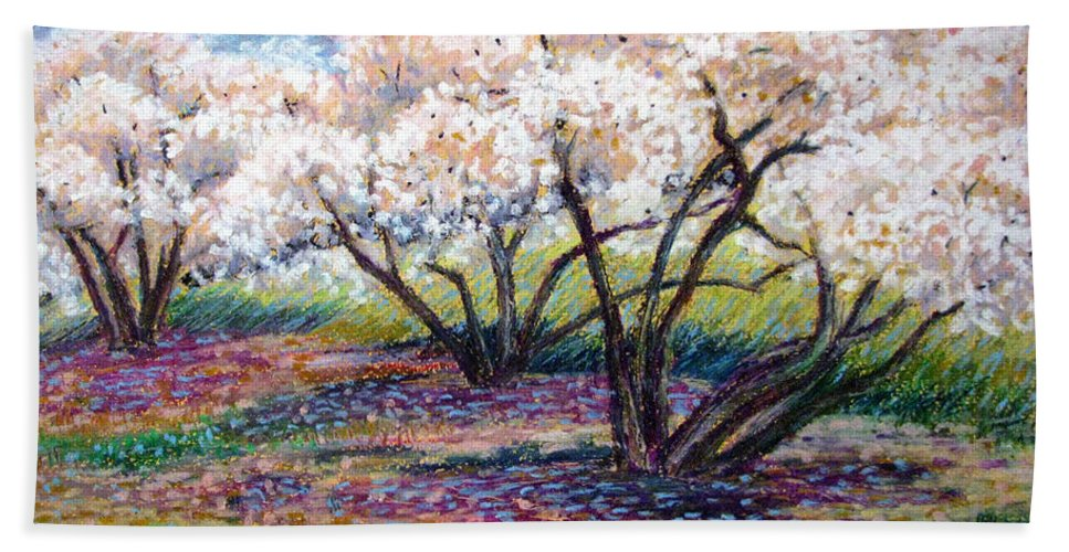 Oil Pastel Bath Sheet featuring the painting Spring Has Sprung by Art Nomad Sandra Hansen