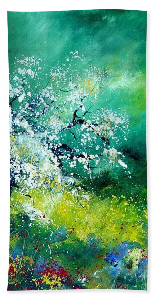 Flowers Hand Towel featuring the painting Spring by Pol Ledent