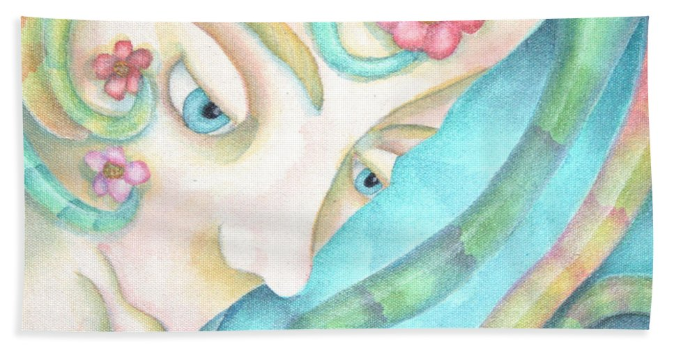 Sprite Hand Towel featuring the painting Sprite Of Kind Thoughts by Jeniffer Stapher-Thomas