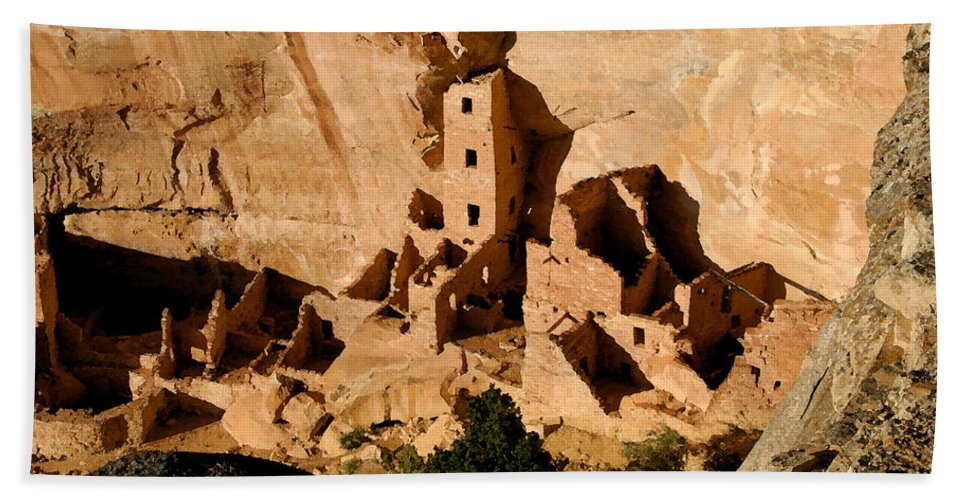 Square Tower Ruin Hand Towel featuring the painting Square Tower Ruin by David Lee Thompson