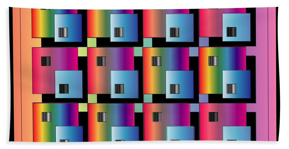 Abstract Hand Towel featuring the digital art Squares by George Pasini