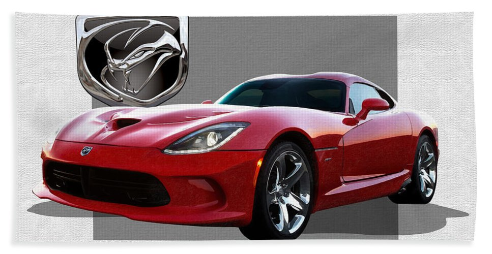 'dodge Viper' By Serge Averbukh Hand Towel featuring the photograph S R T Viper with 3 D Badge by Serge Averbukh