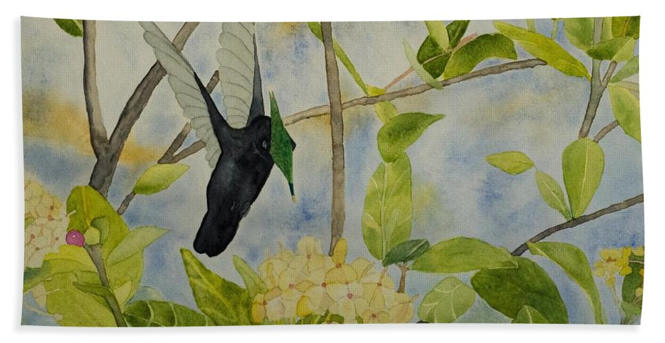 St. Lucia Bath Sheet featuring the painting St. Lucian Hummingbird by Laurel Best