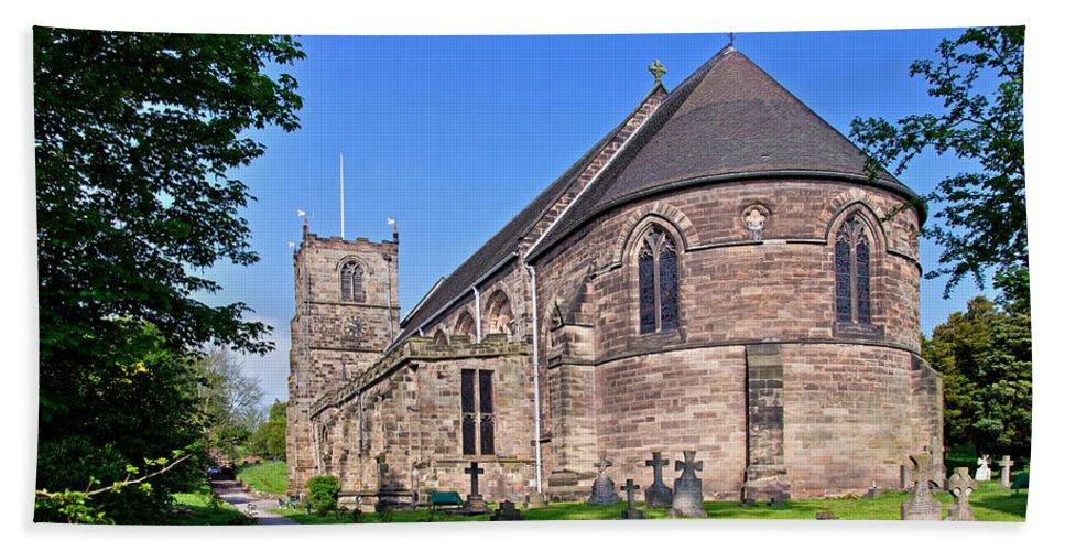 Clock Hand Towel featuring the photograph St Mary's Church - Tutbury by Rod Johnson
