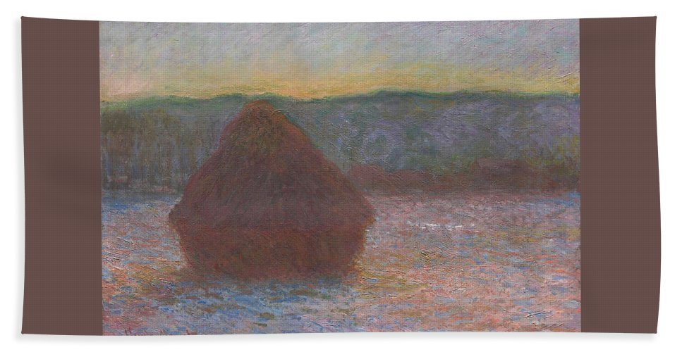 Claude Monet Hand Towel featuring the painting Stack Of Wheat, Thaw, Sunset by Claude Monet