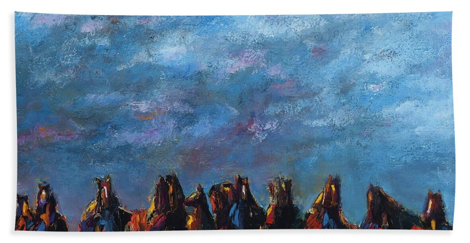 Horses Hand Towel featuring the painting Stampede by Frances Marino