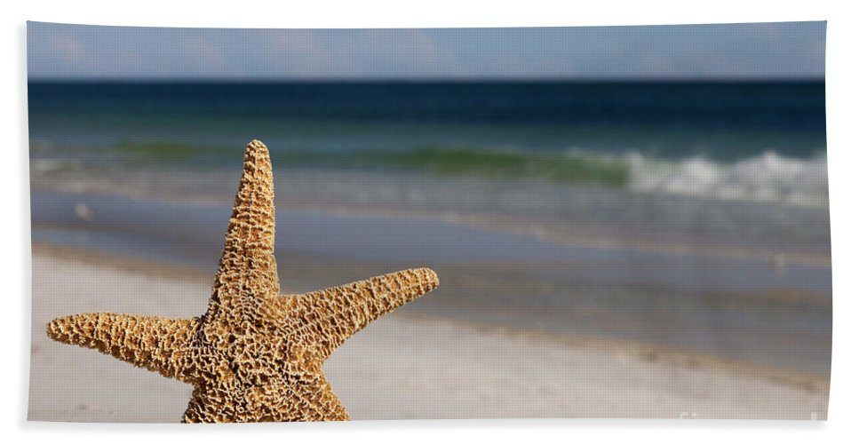 Starfish Bath Sheet featuring the photograph Starfish Standing On The Beach by Anthony Totah