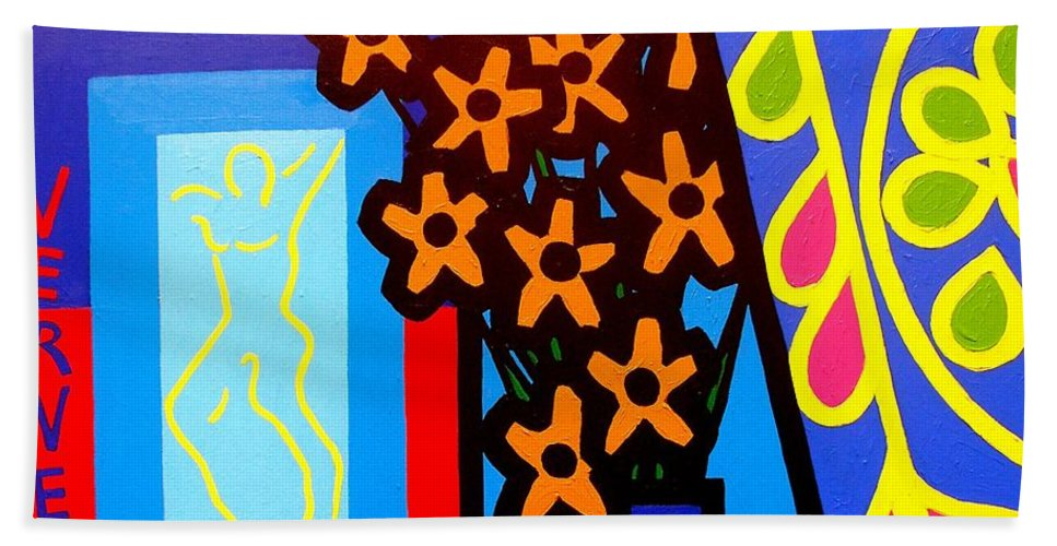 Ireland Hand Towel featuring the painting Still Life With Henri Matisse's Verve by John Nolan