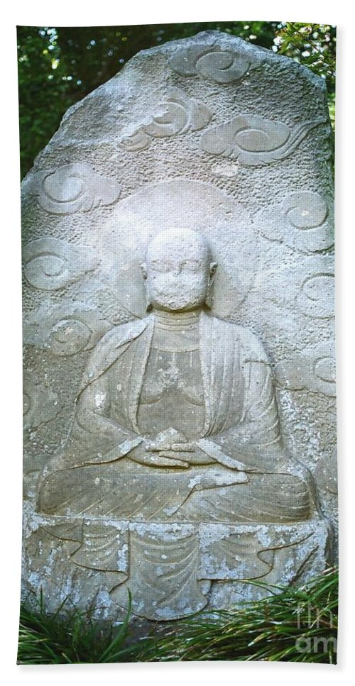 Stone Bath Towel featuring the photograph Stone Buddha by Dean Triolo