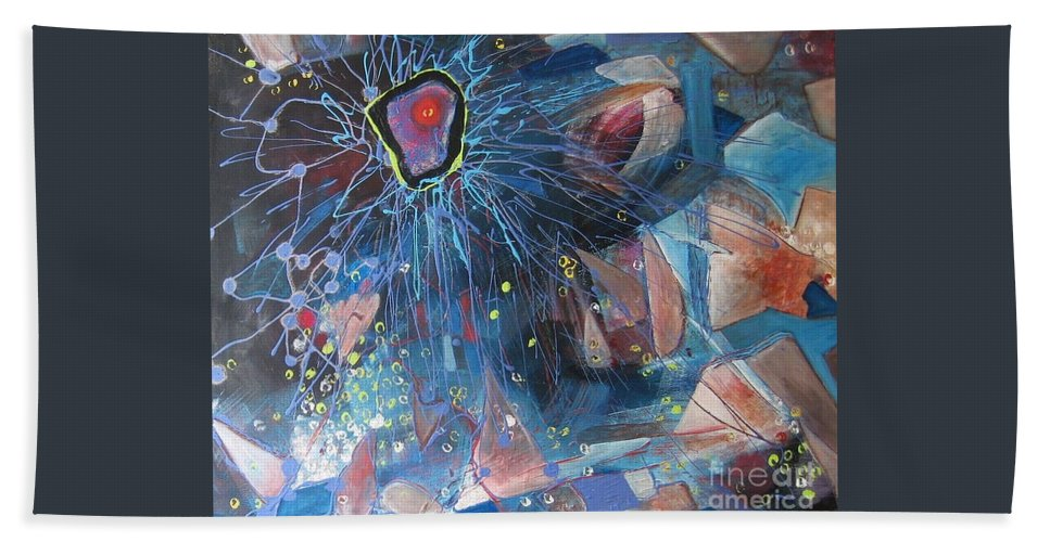 Abstract Paintings Bath Sheet featuring the painting Storm At Sea by Seon-Jeong Kim