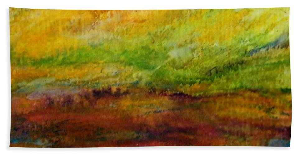 Abstract Bath Sheet featuring the painting Storm At Sunrise by Judith Redman