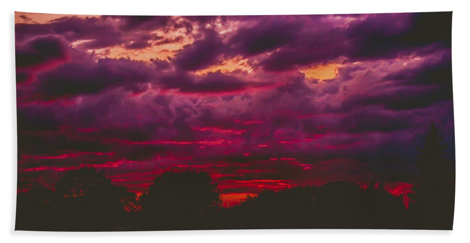 Summer Hand Towel featuring the photograph Stormy Sunset by Kristin Hunt