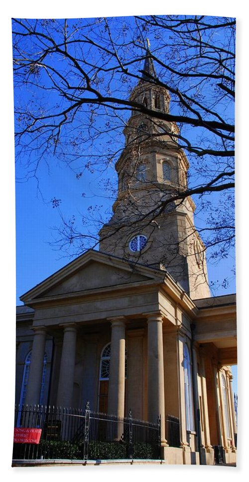 Photography Bath Sheet featuring the photograph St.philips Episcopal Church In Charleston Sc by Susanne Van Hulst