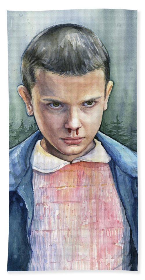 Strager Things Bath Towel featuring the painting Stranger Things Eleven Portrait by Olga Shvartsur