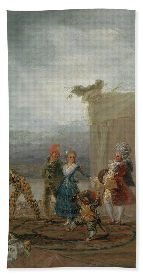 Europe Hand Towel featuring the painting Strolling Players by Francisco Goya