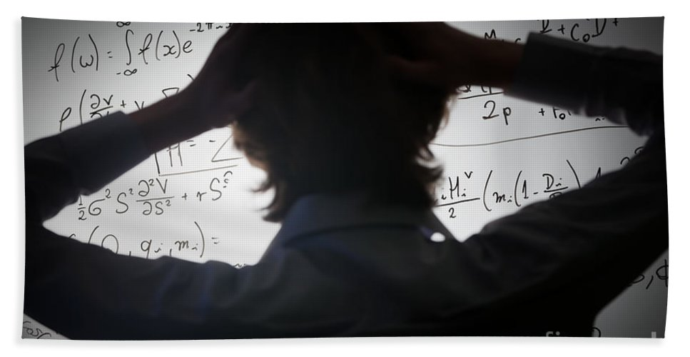 Math Hand Towel featuring the photograph Student Holding His Head Looking At Complex Math Formulas On Whiteboard by Michal Bednarek