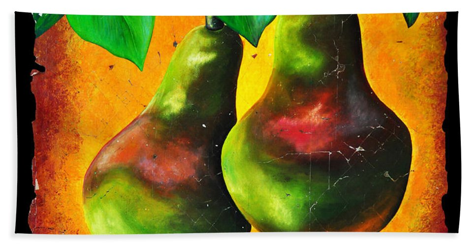 Study Of Two Pears Hand Towel featuring the painting Study Of Two Pears by OLena Art Lena Owens