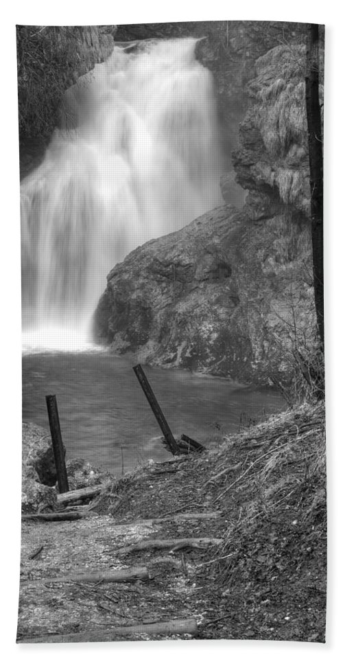 Waterfall Hand Towel featuring the photograph Sum Waterfall In Vintgar Gorge by Ian Middleton