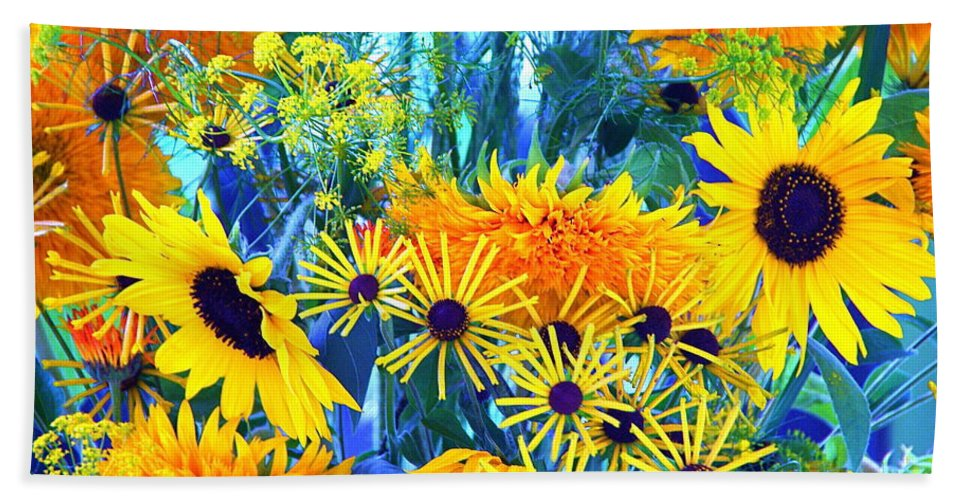 Flowers Hand Towel featuring the photograph Summer Bouquet by Byron Varvarigos