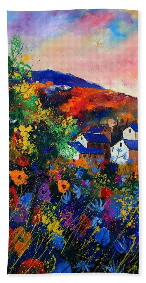 Landscape Hand Towel featuring the painting Summer by Pol Ledent