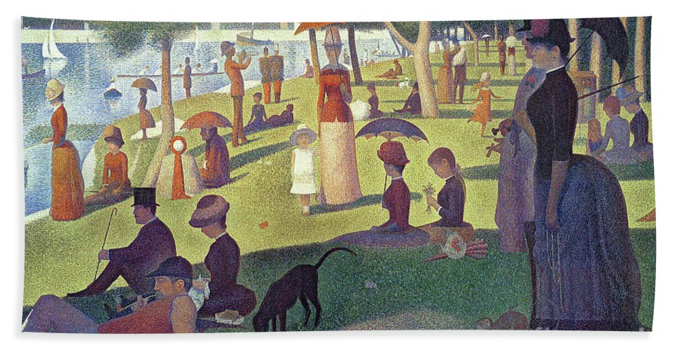 Sunday Afternoon On The Island Of La Grande Jatte Bath Towel featuring the painting Sunday Afternoon On The Island Of La Grande Jatte by Georges Pierre Seurat