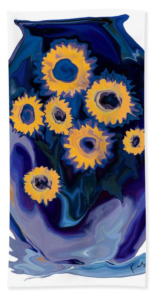 Art Bath Towel featuring the digital art Sunflower 1 by Rabi Khan