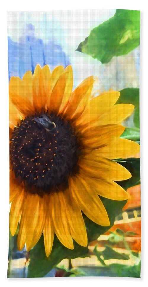 Alicegipsonphotographs Bath Sheet featuring the photograph Sunflower In The City by Alice Gipson