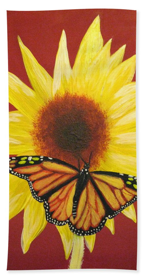 Sunflower Hand Towel featuring the painting Sunflower Monarch by Debbie Levene