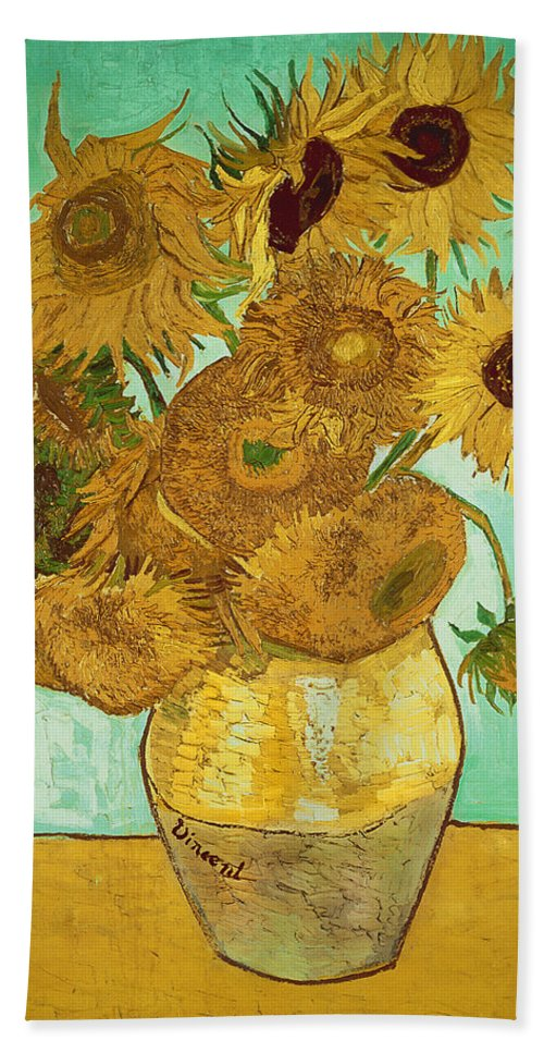 Sunflowers Bath Towel featuring the painting Sunflowers by Van Gogh by Vincent Van Gogh