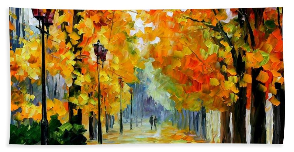 Afremov Bath Sheet featuring the painting Sunny October by Leonid Afremov