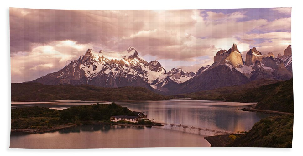 Chile Hand Towel featuring the photograph Sunrise In Torres Del Paine by Michele Burgess