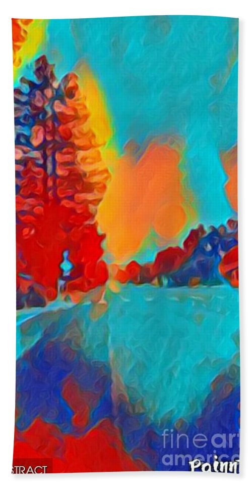 Abstract Hand Towel featuring the mixed media Sunrise by Steven Wills