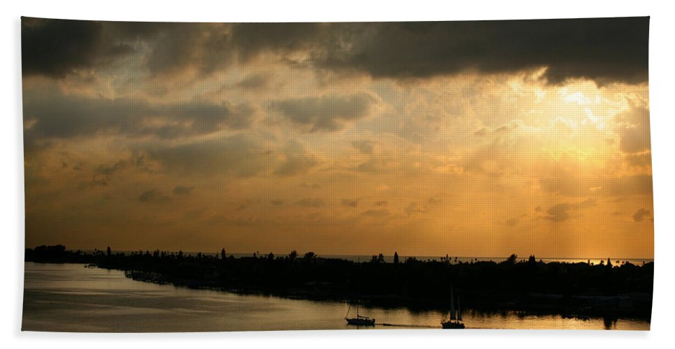 Photograph Hand Towel featuring the photograph Sunset At Pass A Grille Florida by Mal Bray