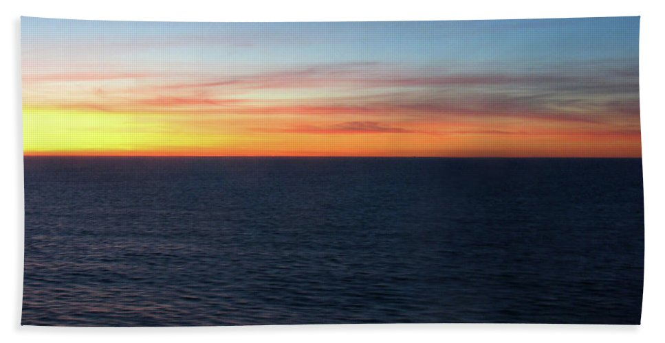 Sunset Bath Sheet featuring the photograph Sunset At Sea by Pauline Darrow