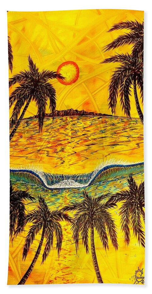 Sunset Hand Towel featuring the painting Sunset Dream by Paul Carter