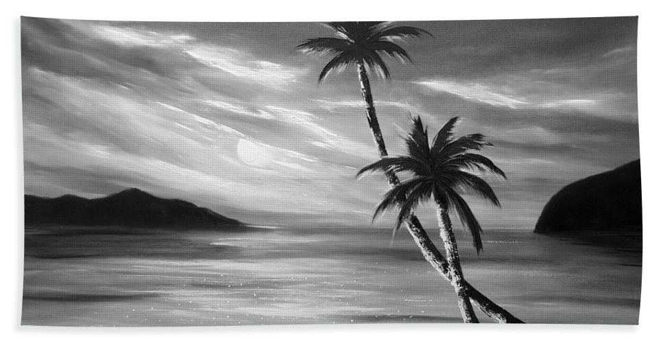 Sunset Bath Sheet featuring the painting Sunset In Paradise by Gina De Gorna