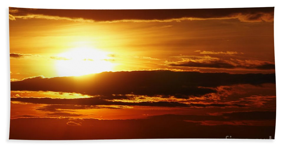 Sunset Hand Towel featuring the photograph Sunset by Michal Boubin