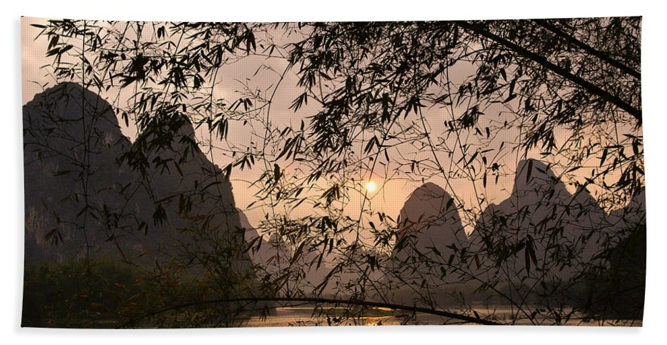 Asia Hand Towel featuring the photograph Sunset On The Li River by Michele Burgess