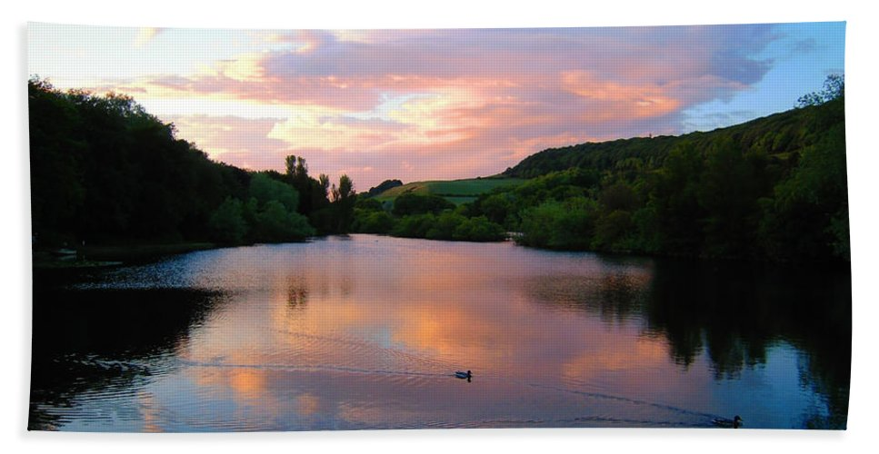 Lake Hand Towel featuring the photograph Sunset Over A Lake by Svetlana Sewell